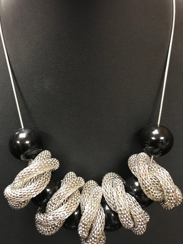 Leah Silver and Black Bead Necklace