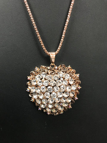 GABRIELA Rhinestone heart necklace