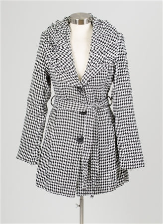 Luii Houndstooth Ruffle Collar Jacket