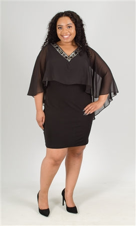 Sangria Popover Beaded Chiffon PlusSize Dress