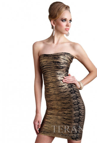 Terani Metallic Stretch Strapless Dres