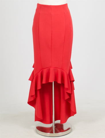 Why Red Ruffle Tier High Low Skirt