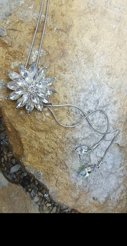 Crystal Flower Bolo Style Necklace