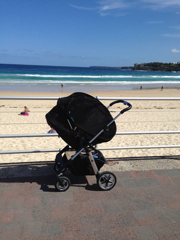 CoziGo at the beach blackout stroller cover