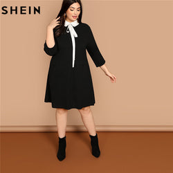 20f941a2f7 SHEIN Plus Size Tie Neck Peter Pan Collar Preppy Style Women Black Straight  Dress 2019 Spring