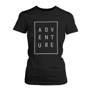 Adventure Women's T-shirt Trendy Typographic Tee Cute Short sleeve Shirt