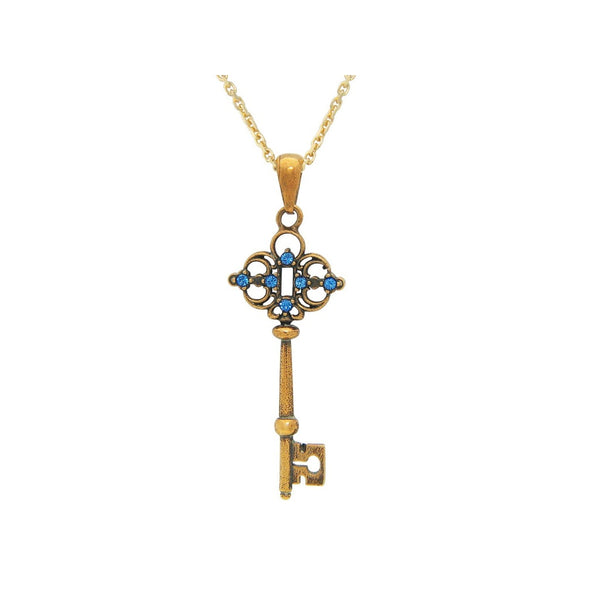 Antique Sterling Silver Gold Plated Blue Zirconia Key Charm Pendant Necklace 18""