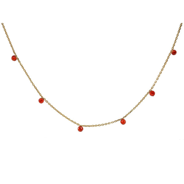 Golden Mini Red Agate Stone Necklace