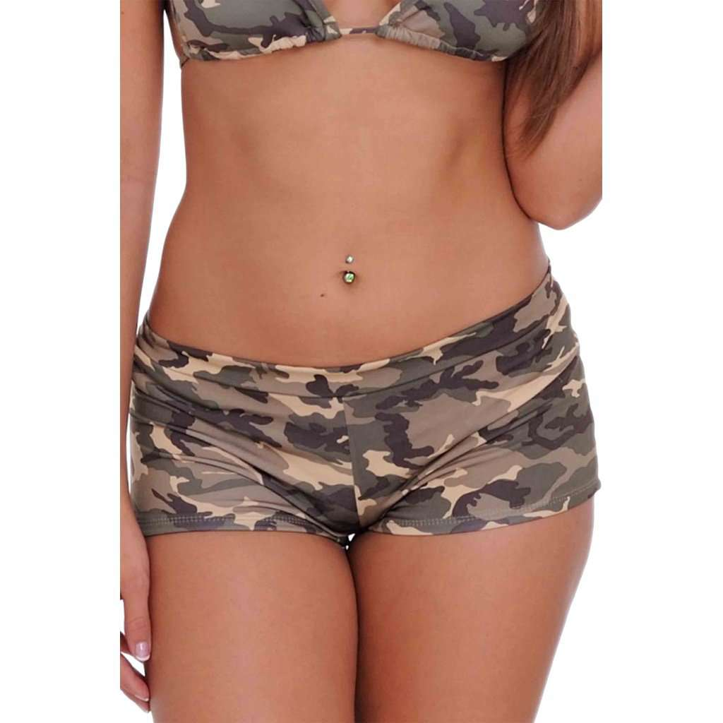 Women's Juniors Hot Shorts Camouflage Bikini Beach Swimwear