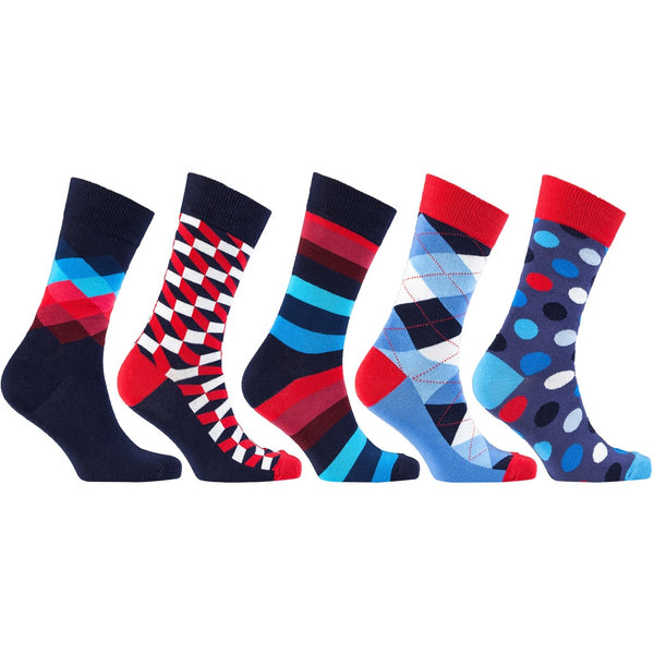 Men'S 5-Pair Funky Mix Socks-3024