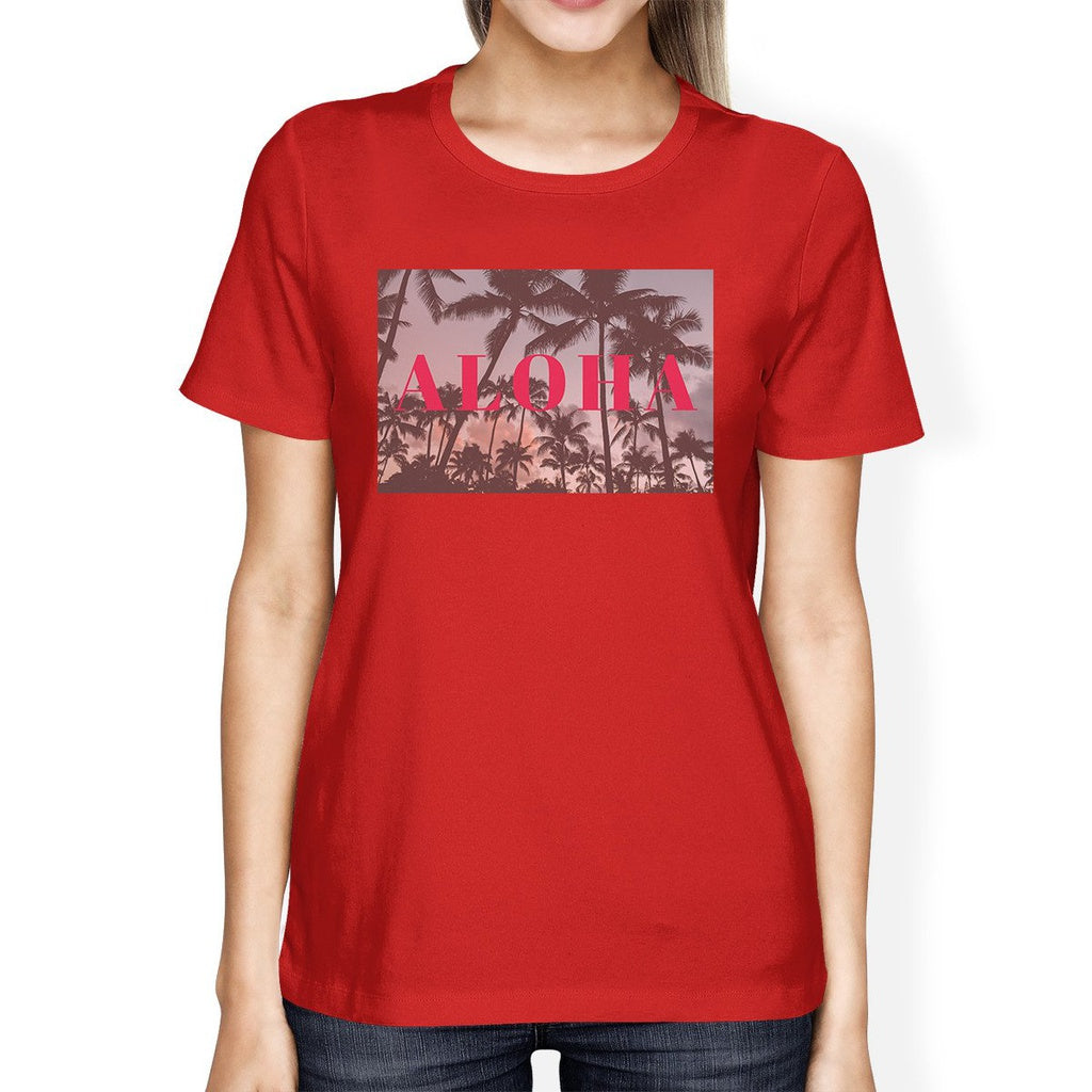 Aloha Hawaii Theme Womens Red Crewneck Short Sleeve Tee Summer Top