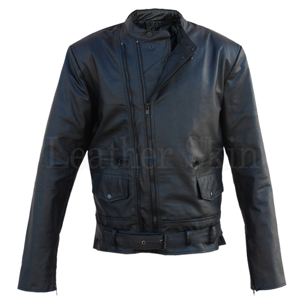 Black Belted Brando Biker Leather Jacket