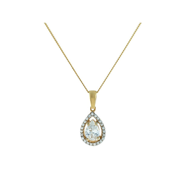 Gold Plated Sterling Silver Antique Marquise CZ Charm Chain Necklace