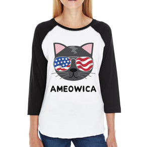 Ameowica Womens Graphic Baseball Shirt Gift For Independence Day