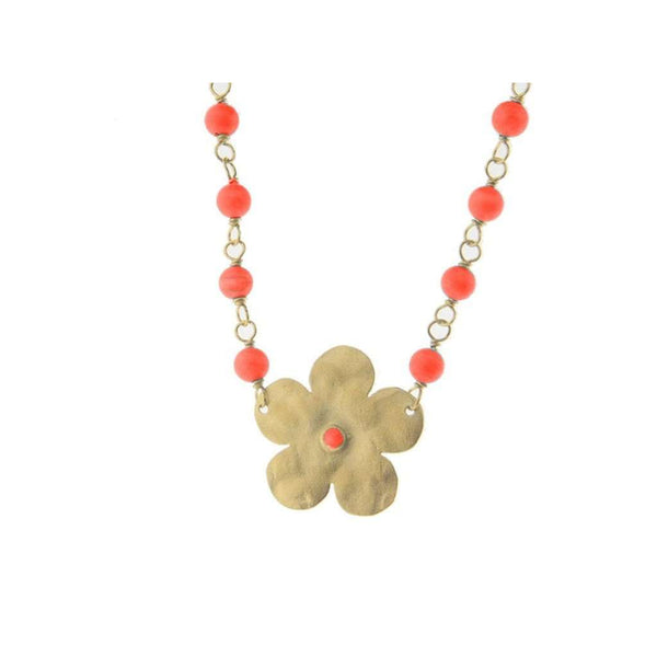 Signature Hammered Spring Flower & Coral Gold Choker Necklace, 13.5 + 1""