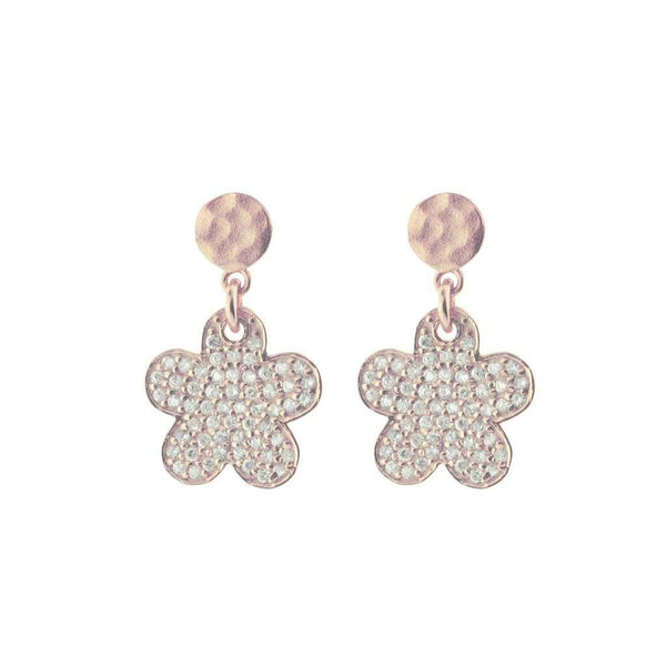 Sparkling Pave Cz Daisy Earrings in Rose Gold Plated Sterling Silver, 15mm