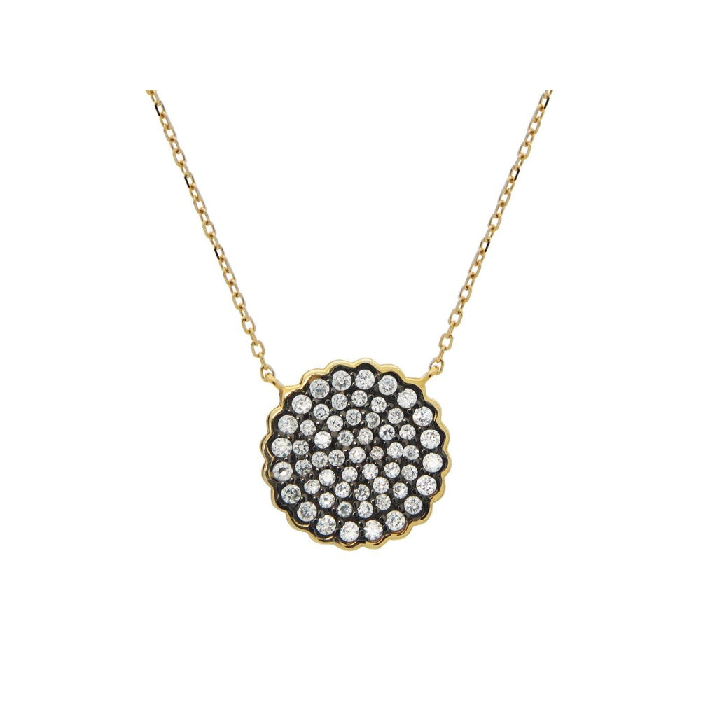 "Black & Gold Plated Sparkling CZ Sun Pendant(16mm) Necklace in Sterling Silver, 15.5""+1.5"""