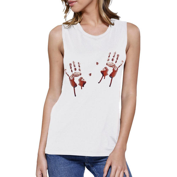 Bloody Handprints Womens White Muscle Top
