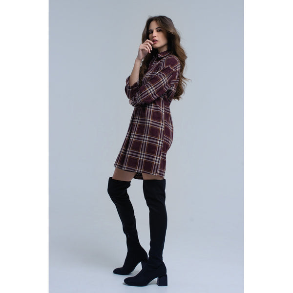 Bordeaux checked midi dress