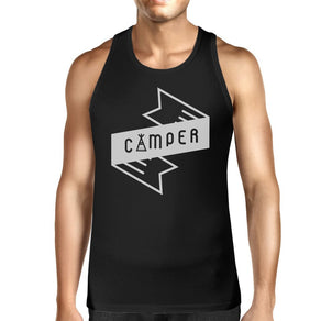 Camper Men's Black Cute Tank Top Trendy Graphic For Camping Lovers