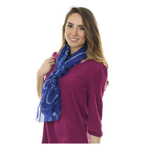 Anchor Dream Long Scarf - Navy Blue
