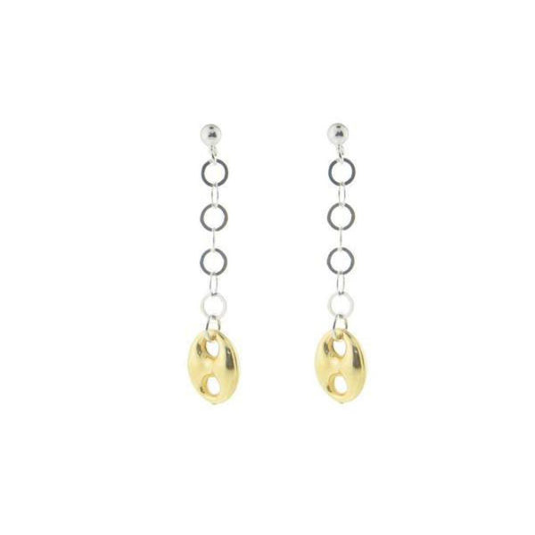 Dangling Golden Marine Link Earrings