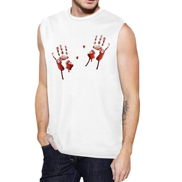 Bloody Handprints Mens White Muscle Top