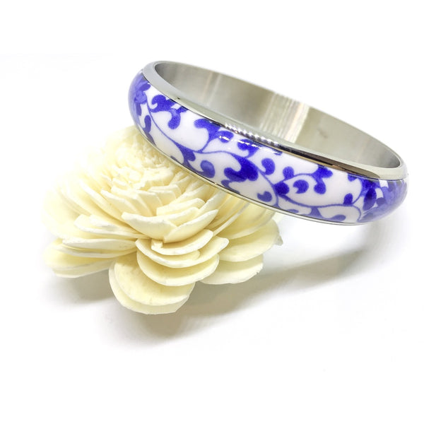 Porcelain Bangle encased in Titanium Steel