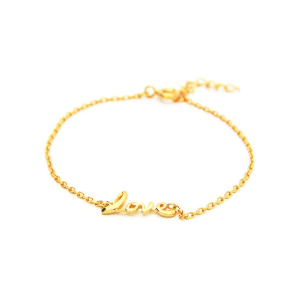 Cursive Love Bracelet in Gold Plated Sterling Silver, 6""
