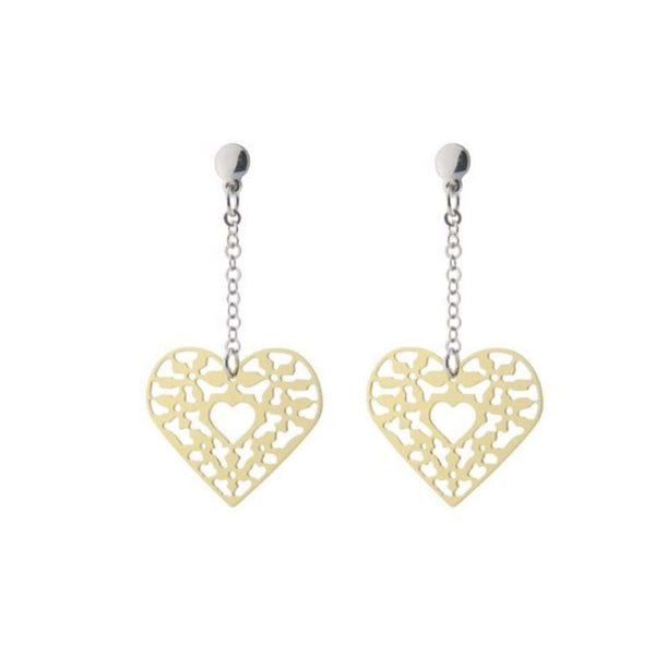 Sterling Silver Earrings Dangling Rose Plated  Filigree Heart  2""