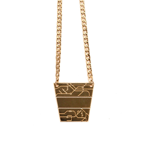 B-B Pyramid Neacklace Gold