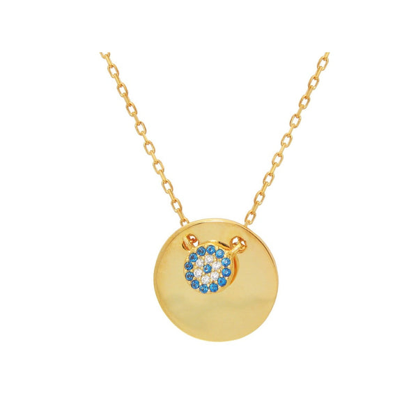 "Mini Glimmering Evil Eye Disc Pendant Necklace in Gold Plated Sterling Silver: Length 16"" + 2"""