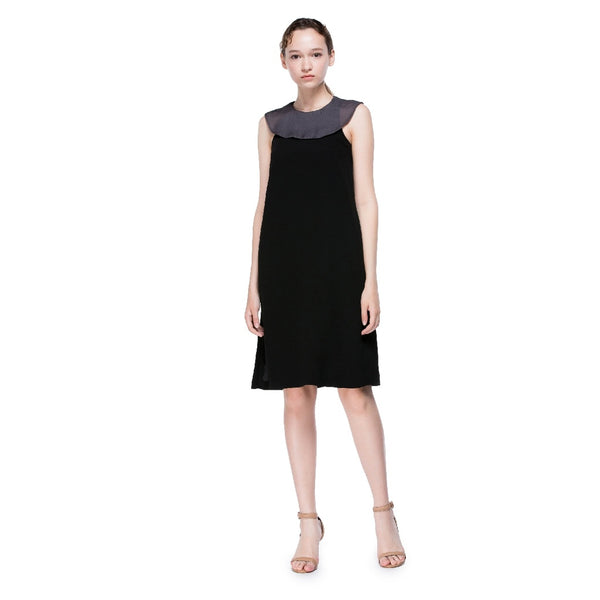 Black Midi Dress with Grey collar