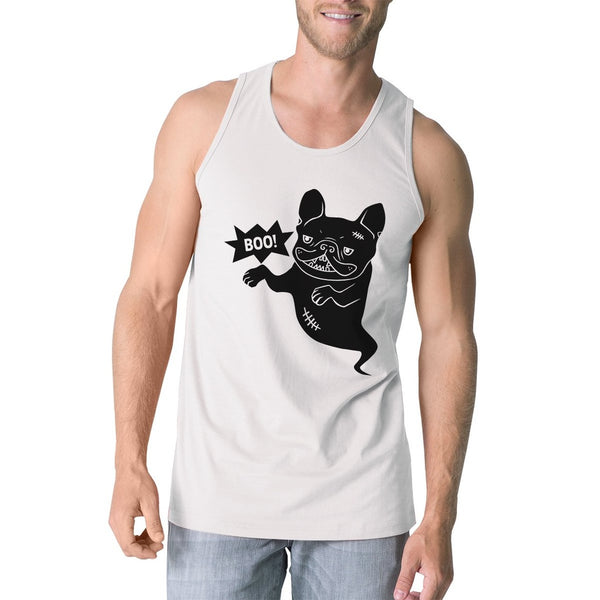 Boo French Bulldog Ghost Mens White Tank Top