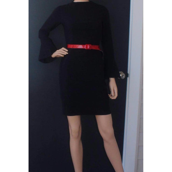 Black Flare Sleeve Fitted Dress