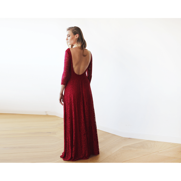 Bordeaux Floral lace Maxi Gown With Open-Back 1118