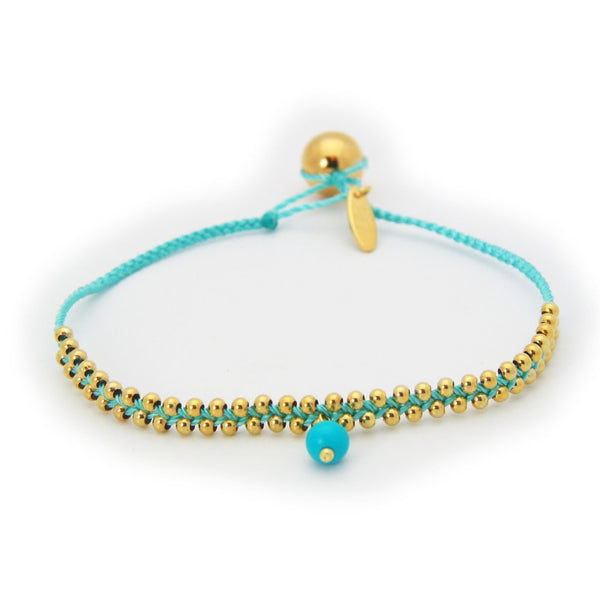 October Turquoise Stone Teal Cord Birthstone Bracelet in Vermeil, 6""