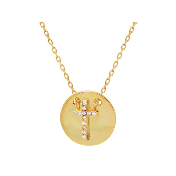 "Mini Stone Cross Necklace in Vermeil: Length 16""+2"""