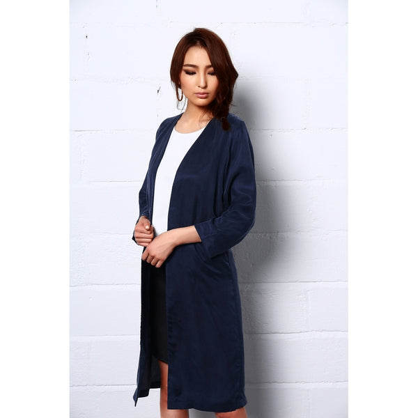 Night dance Long Coat In Blue