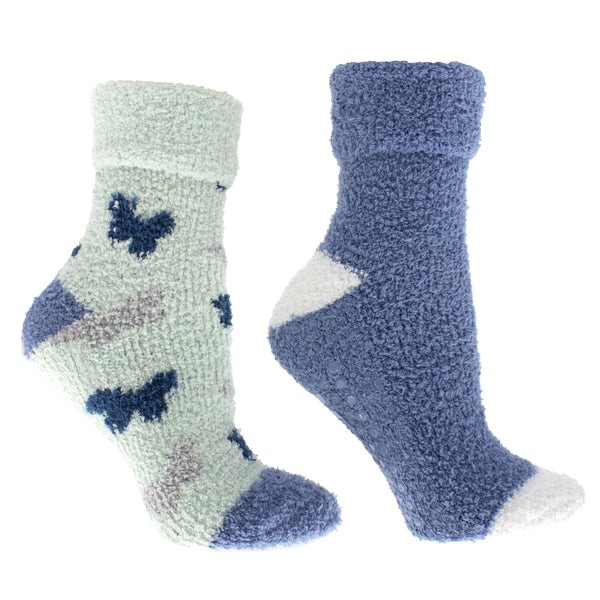 "Women's Rose and Shea Butter Infused 2-Pair Pack Slipper Socks With Sachet Gift, ""Butterflies"""