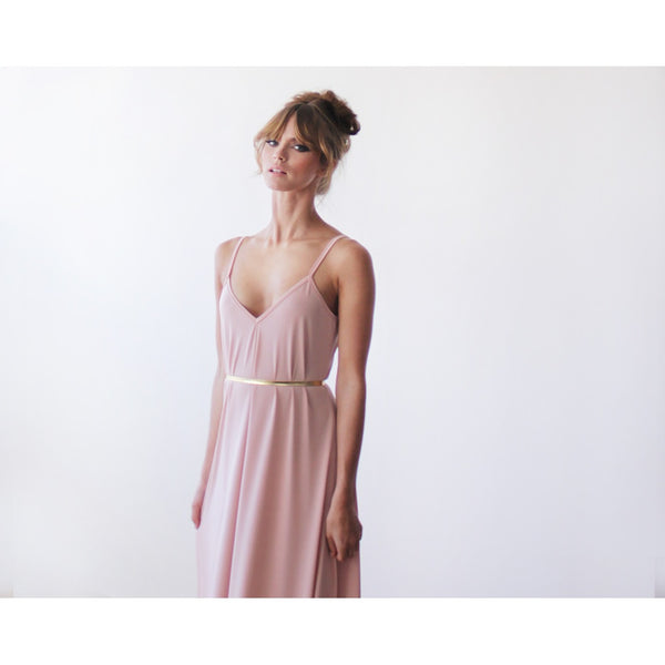 Pink Blush Basic Straps Maxi Dress 1026