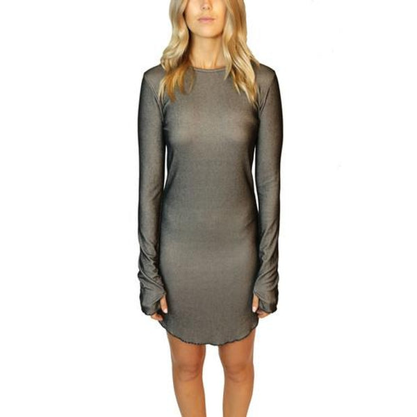 217042 CLOSER RIBBED LONG SLEEVE DRESS