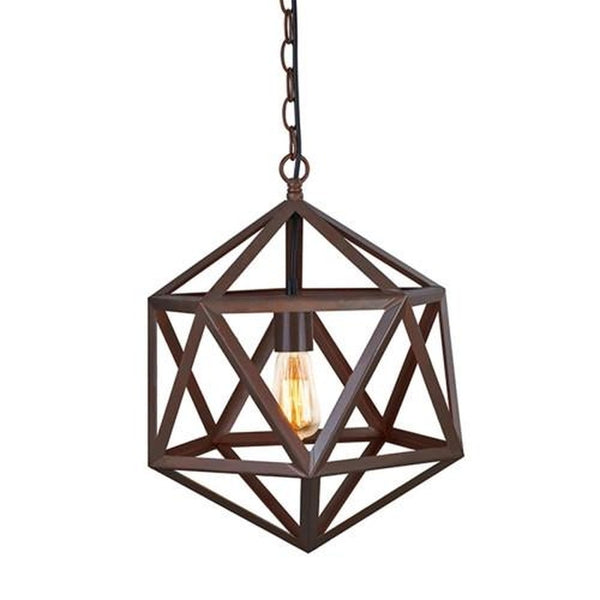 Polyhedron Large Pendant Light Fixture - Bulb Included, Matte Black
