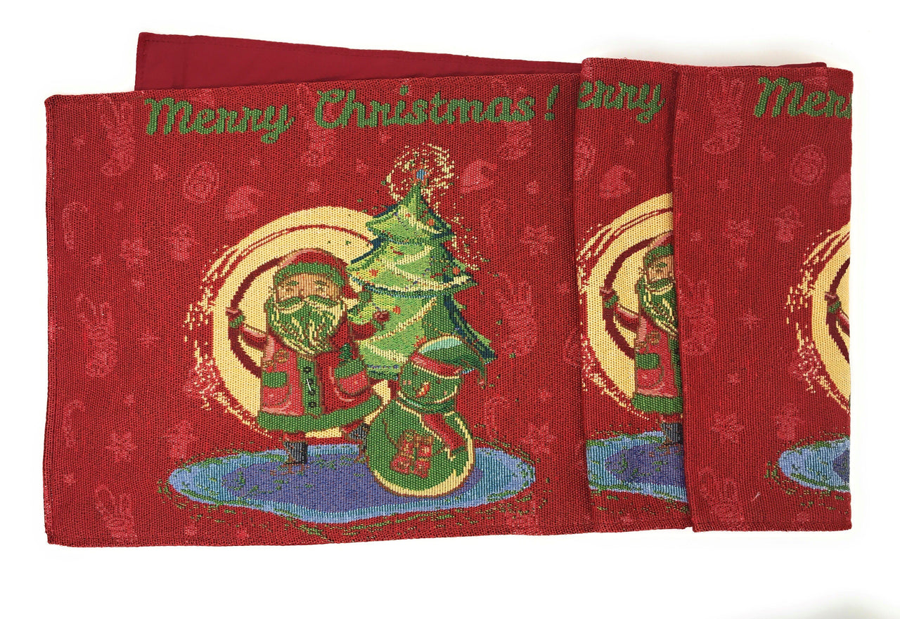 DaDa Bedding Santa Claus Table Runner, Colorful Holiday Red Tapestry (17615)