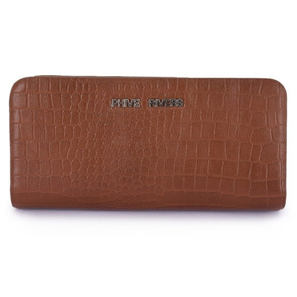 Phive Rivers Women's Dark Tan Leather Wallet