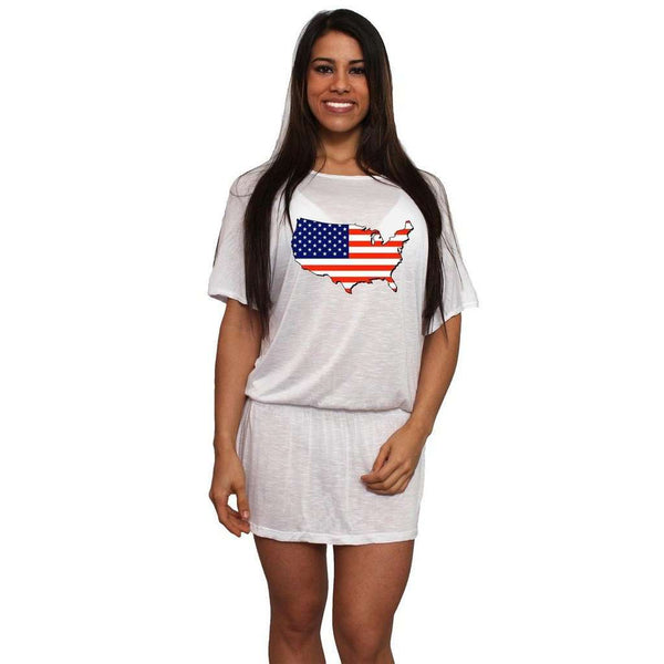 Women's USA Flag Pride Tunic Dress Swimwear Cover-up: ROYAL