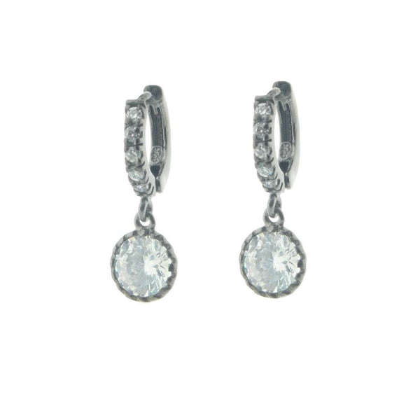 Silver Black Rhodium Plated Cz Huggies with Cz 6 mm Hanging