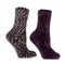 Women's Non-Skid Rose and Shea Butter Infused 2-Pair Pack Slipper Socks With Sachet Gift