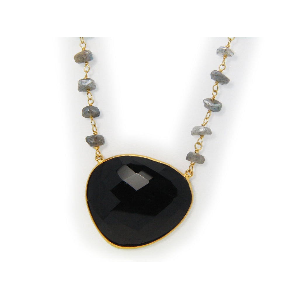 Black Onyx & Labradorite Sterling Silver Necklace, 16""