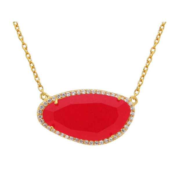 "Gold Plated Sterling Silver Red Jade Slice Stone Pendant Necklace, 16"" + Extension"